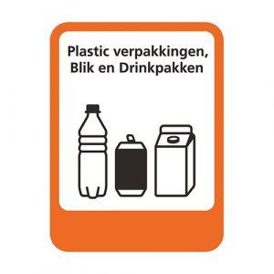 Afvalscheiding sticker afvalstroom plastic blik drinkpakken 5,3 x 7 cm